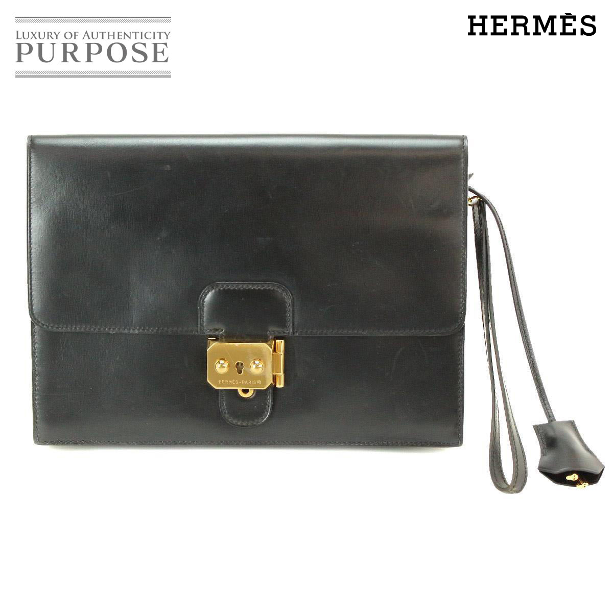 9bac10deb695 Hermes HERMES pochette jet clutch bag boxcalf leather black gold metal  fittings  used  brand