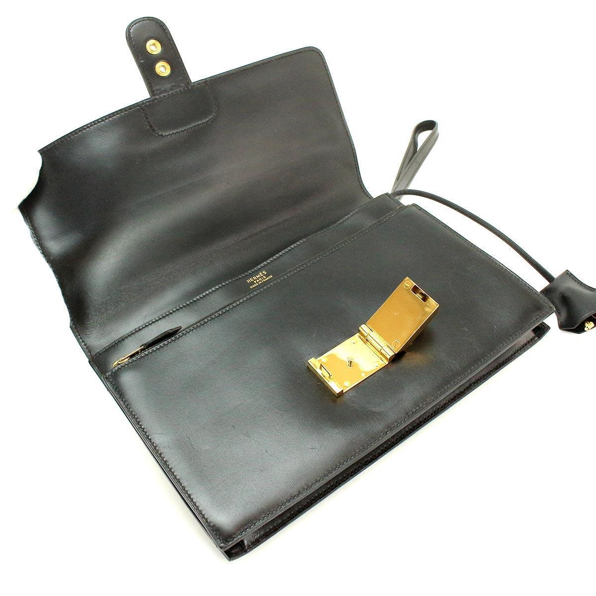d5bd98521a84 Hermes HERMES pochette jet clutch bag boxcalf leather black gold metal  fittings