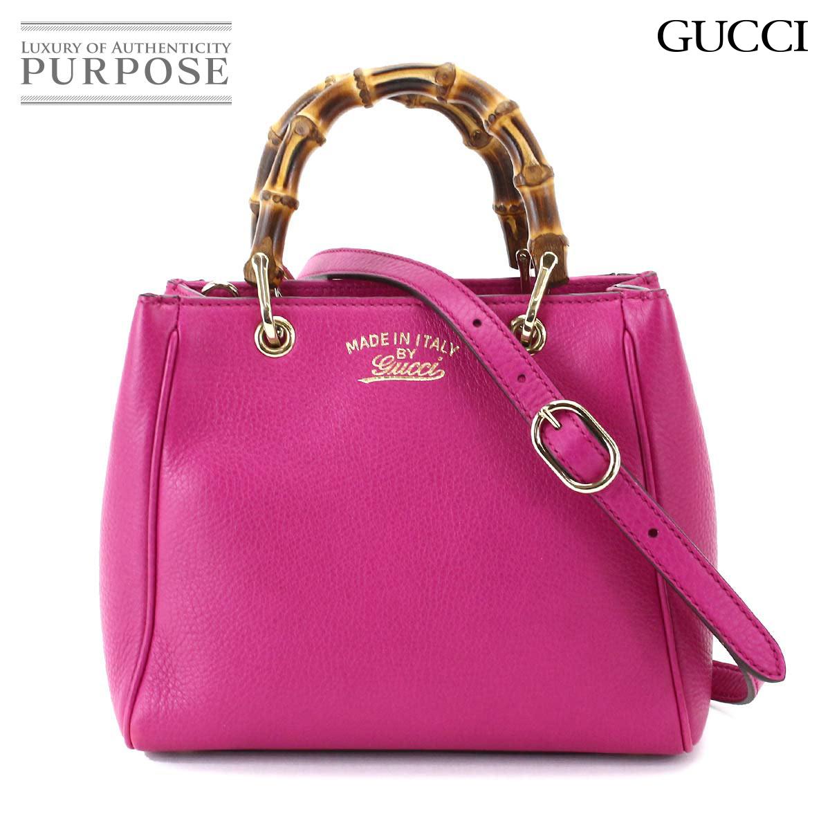Gucci Bamboo Per Mini 2way Handbag Shoulder Bag Pink 368823 001998 Used Brand