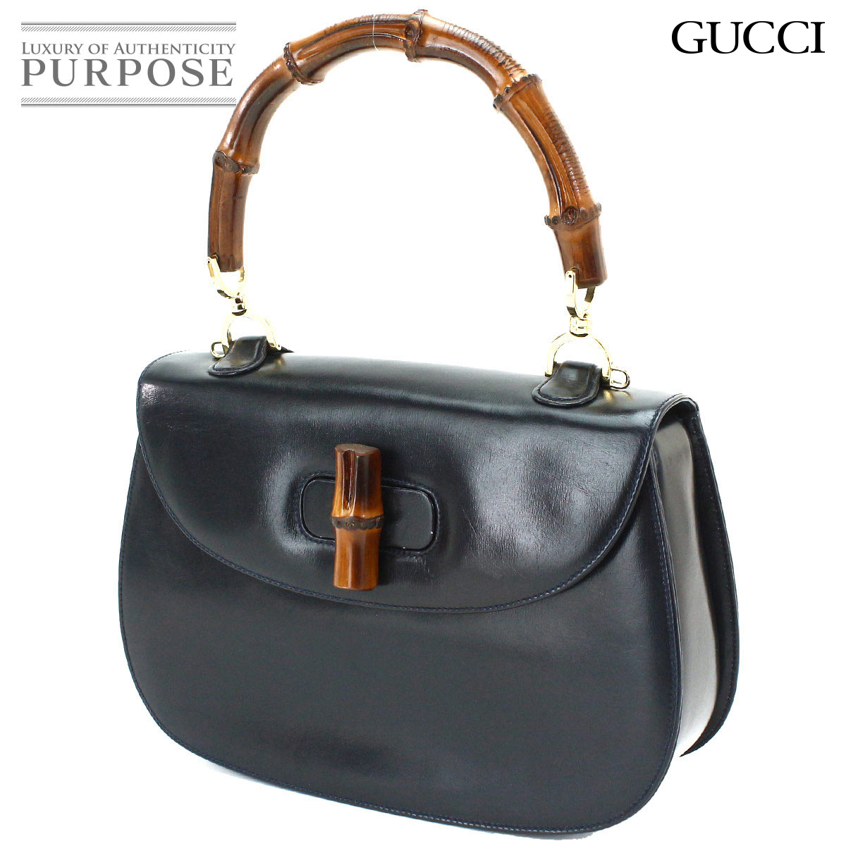 5dea055645687 Gucci GUCCI bamboo 2WAY hand shoulder bag leather black 000 1951 0633  used   brand