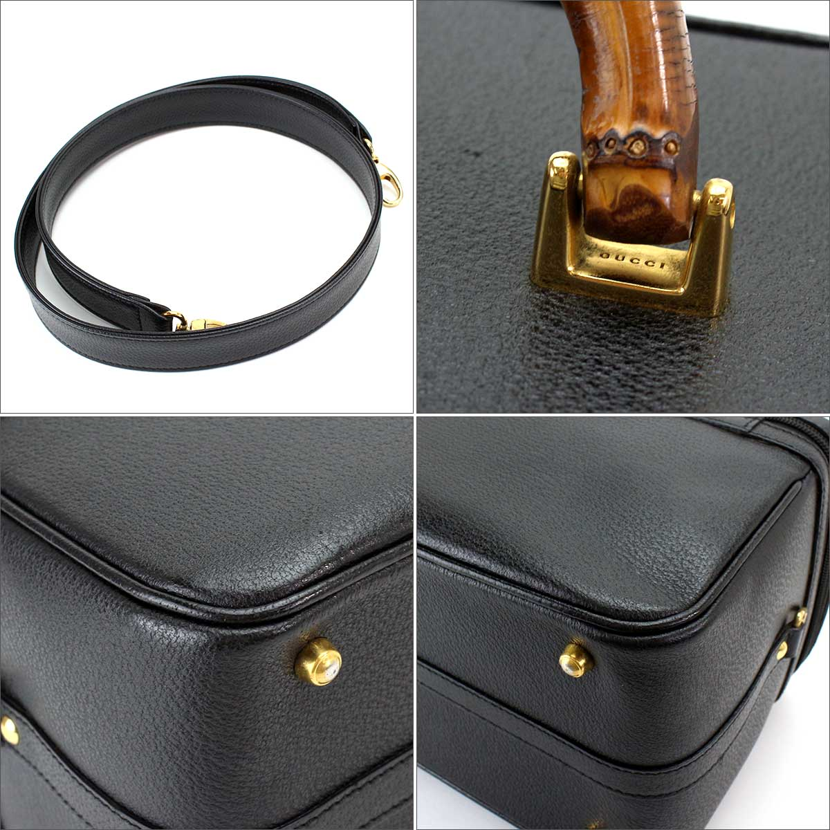 343150320c62 ... With Gucci GUCCI bamboo side type vanity 2WAY hand shoulder bag leather  black 013 122 2491