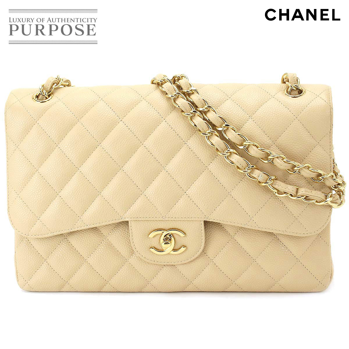 e8c1a0cf4833  unused display  Chanel CHANEL matelasse 30 chains shoulder bag caviar skin  beige A28600  used  brand