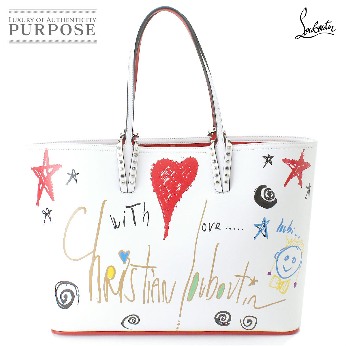 42107dc0c07 クリスチャンルブタン Christian Louboutin hippopotamus Tal bitag tote bag leather  white multicolored