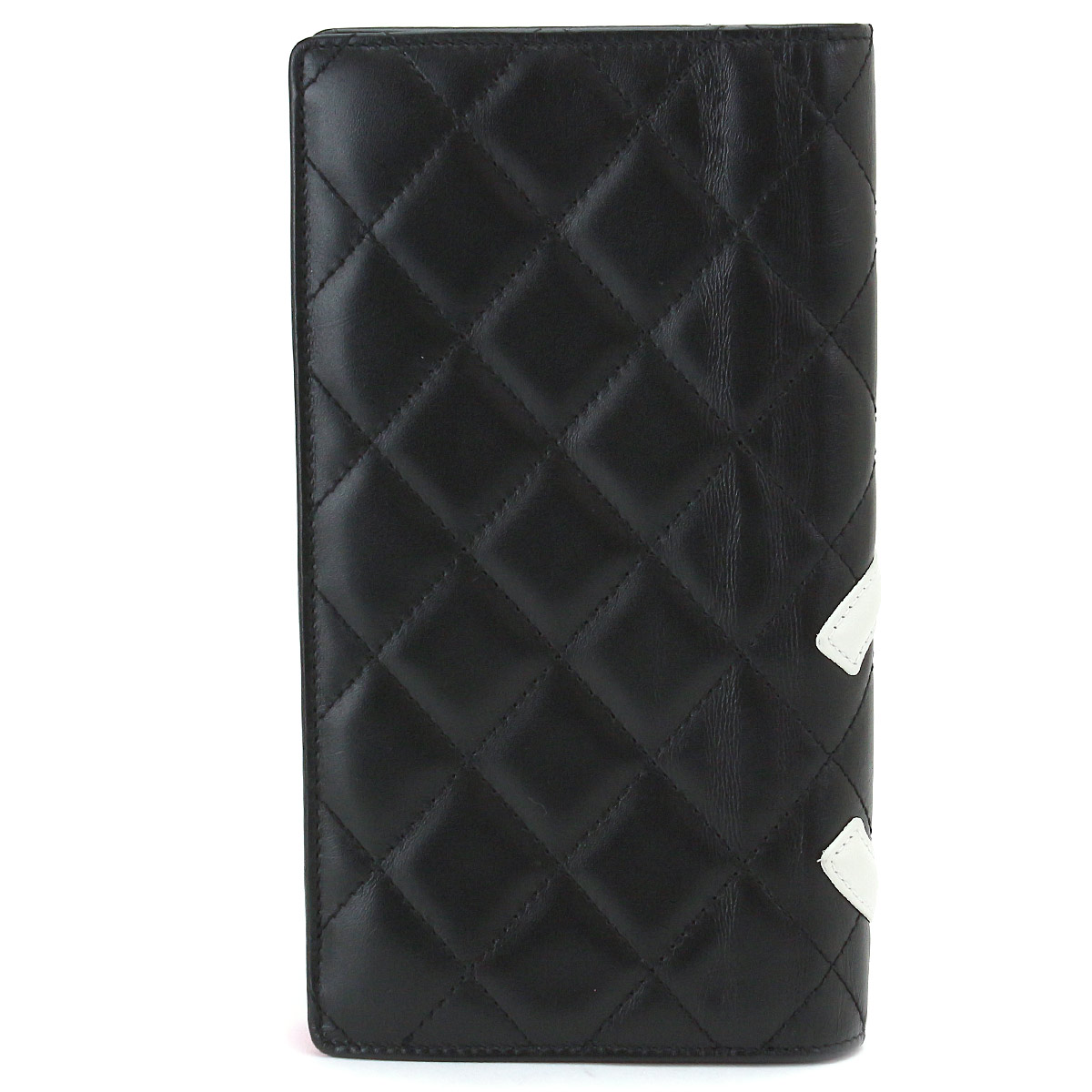81e9082bbacbdb Chanel CHANEL Cambon line folio long wallet leather black white A26717