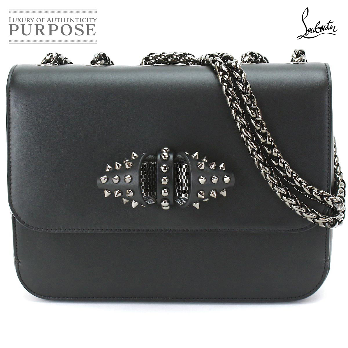 685f171bea8 クリスチャンルブタン Christian Louboutin suite charity shoulder bag leather black  1165028