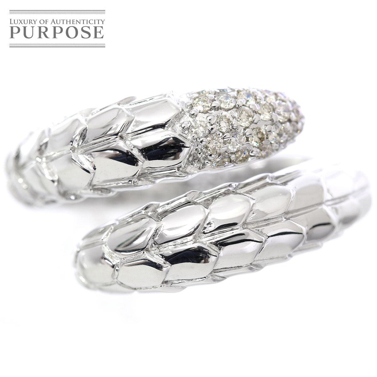 【新品仕上げ】 ダイヤ 0.25ct スネーク K18WG リング 14号 18金ホワイトゴールド ダイア 指輪 【中古】