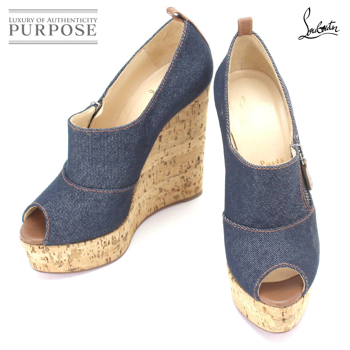 newest 4accd 5ce52 クリスチャンルブタン Christian Louboutin wedge sole sandals denim navy 38 1/2 24.5  25.0cm Lady's