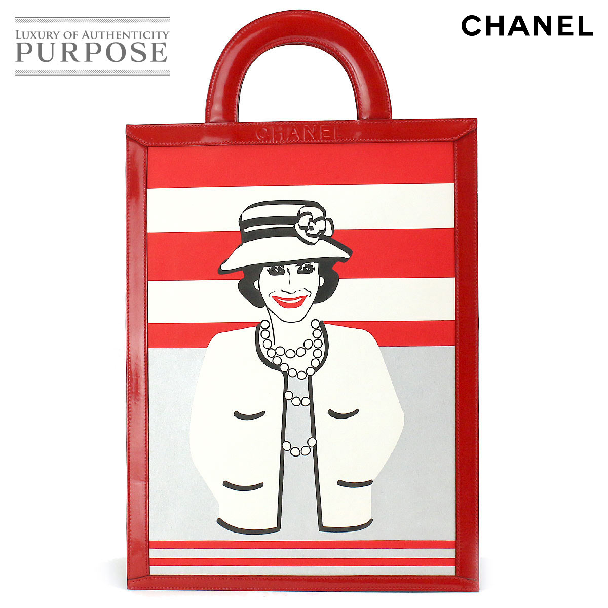 98fb184c2e6b Chanel CHANEL mademoiselle tote bag enamel leather red white Coco Chanel