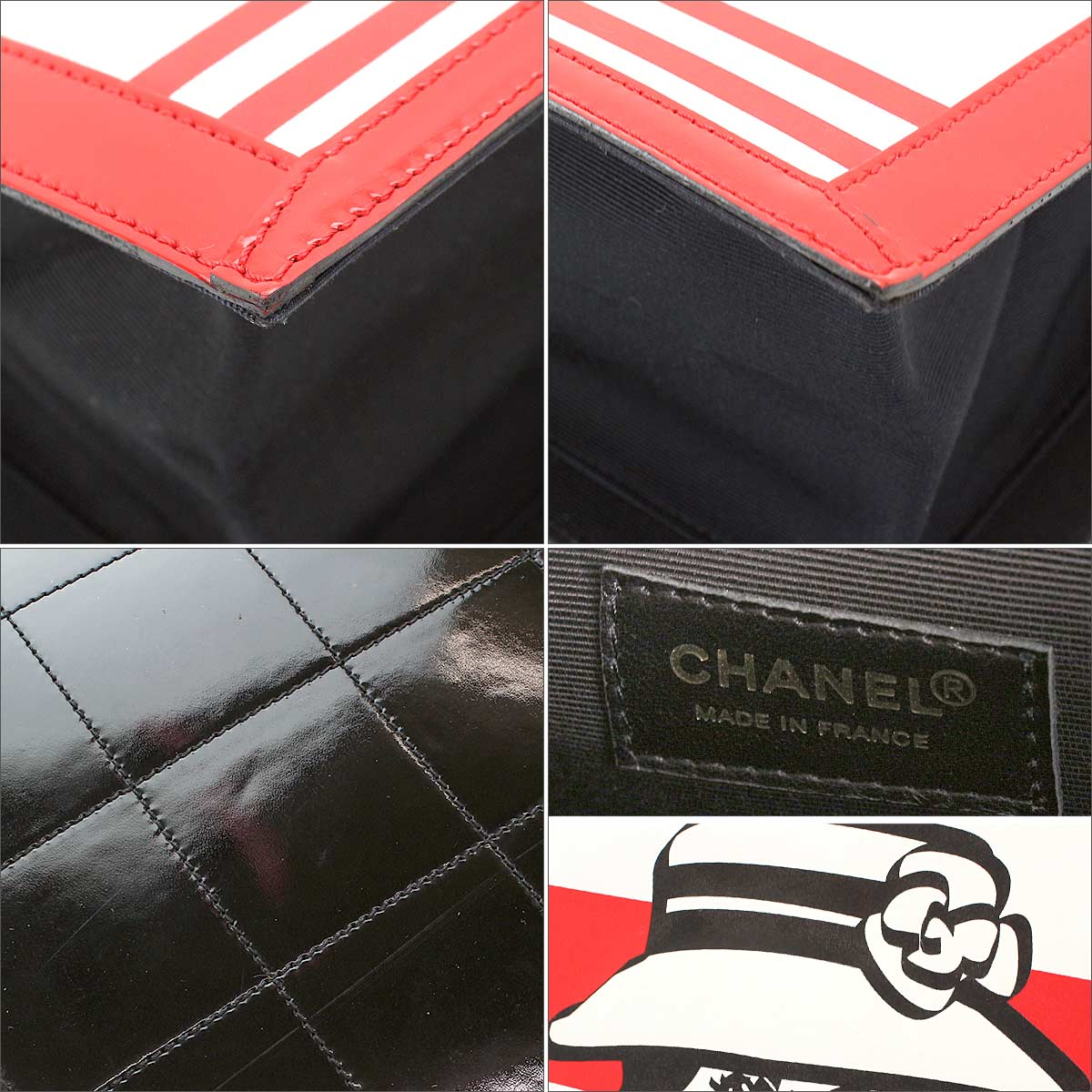 c51abdeecd46 Chanel CHANEL mademoiselle tote bag enamel leather red white Coco Chanel