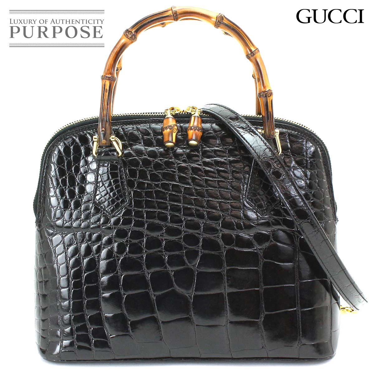 5139e2df Gucci GUCCI bamboo crocodile 2way hand shoulder bag leather black 000 01  0290 [used] brand
