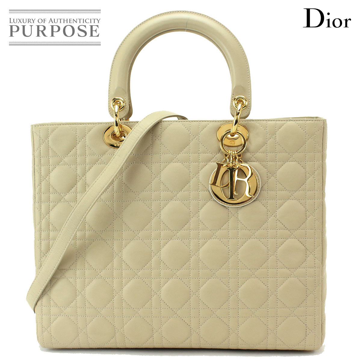 5267a4ade [unused display] Christian Dior Christian Dior lady Dior 2way hand shoulder  bag leather beige [used] brand