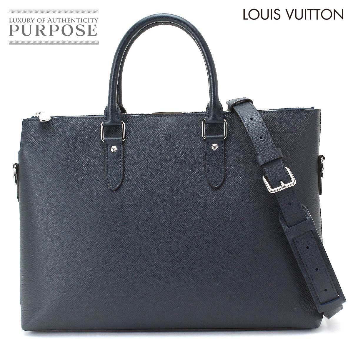 8d08a8f6c8 Louis Vuitton LOUIS VUITTON taiga Anton briefcase business bag leather blue  malines M33417