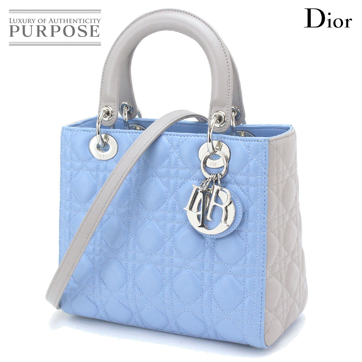 reputable site 74500 0f79d Christian Dior Christian Dior lady Dior 2way hand shoulder bag leather  light blue gray by color