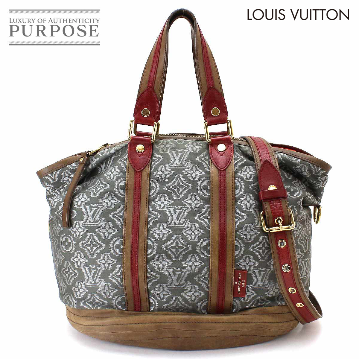 8591868ccd56 Purpose Inc  Louis Vuitton LOUIS VUITTON アヴィエーター 2way tote bag canvas  leather gray brown red M40385