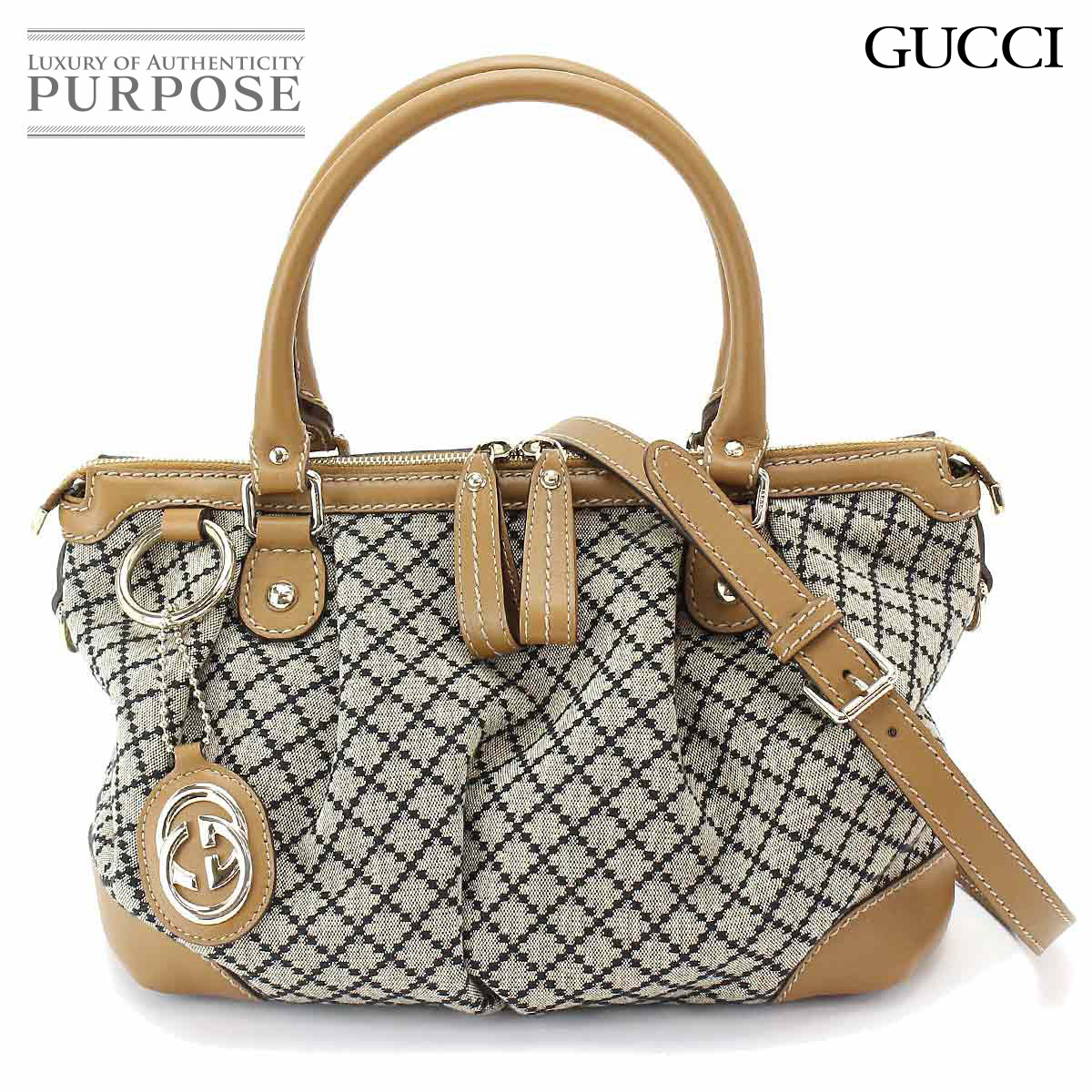 5c5c2ab3fabe92 Purpose Inc: Gucci GUCCI Diamante Sioux key 2way hand shoulder bag canvas  leather beige brown 247902 001998 | Rakuten Global Market