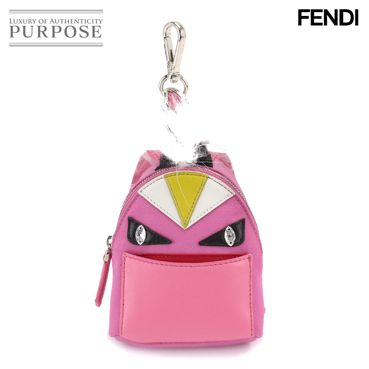5d437701351f  unused display  Fendi FENDI monster bag bugs rucksack backpack charm nylon  leather Fox fur 7AR457 5PP  used  brand