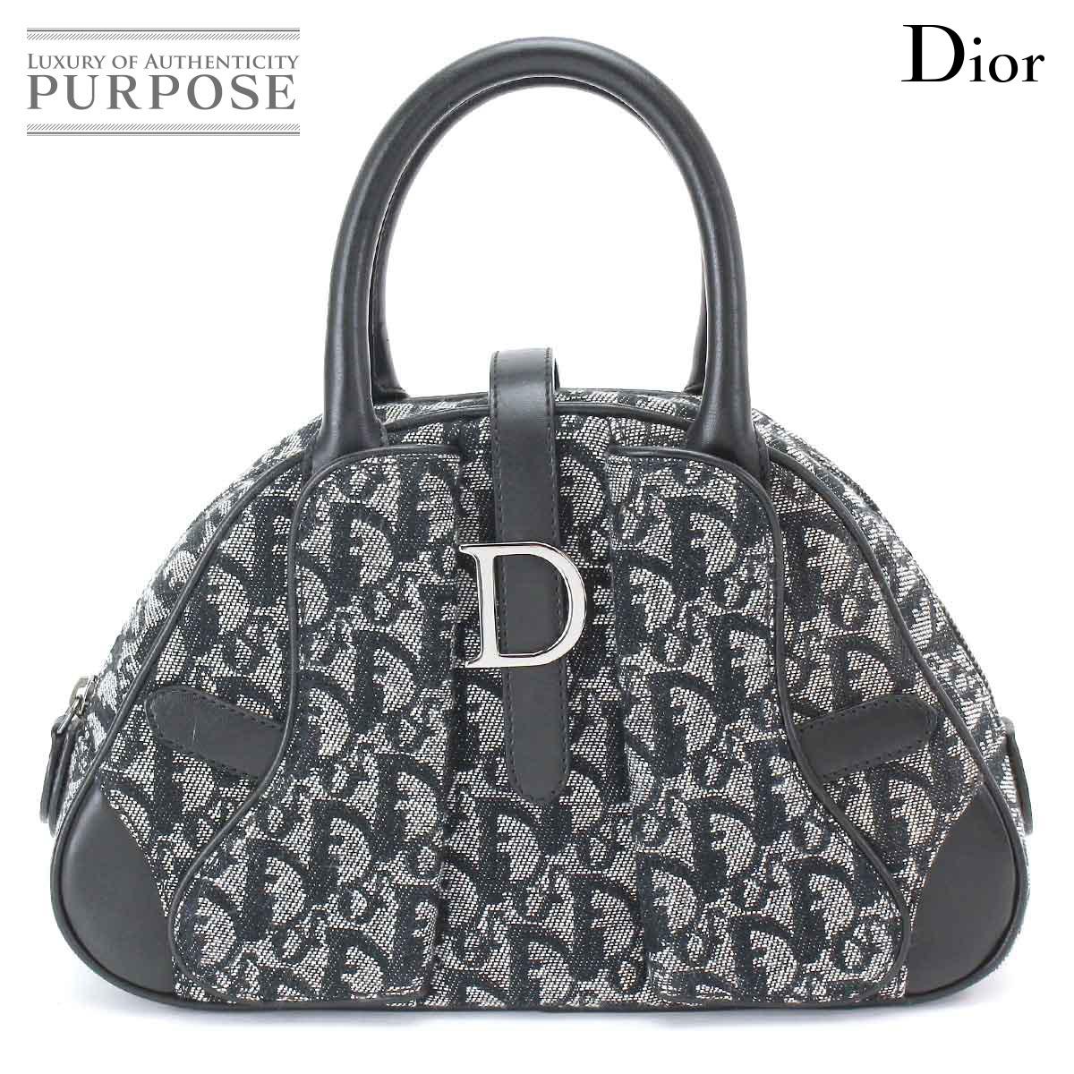 クリスチャン ディオール Christian Dior トロッター ハンド バッグ キャンバス レザー ブラック PZ1012 【中古】