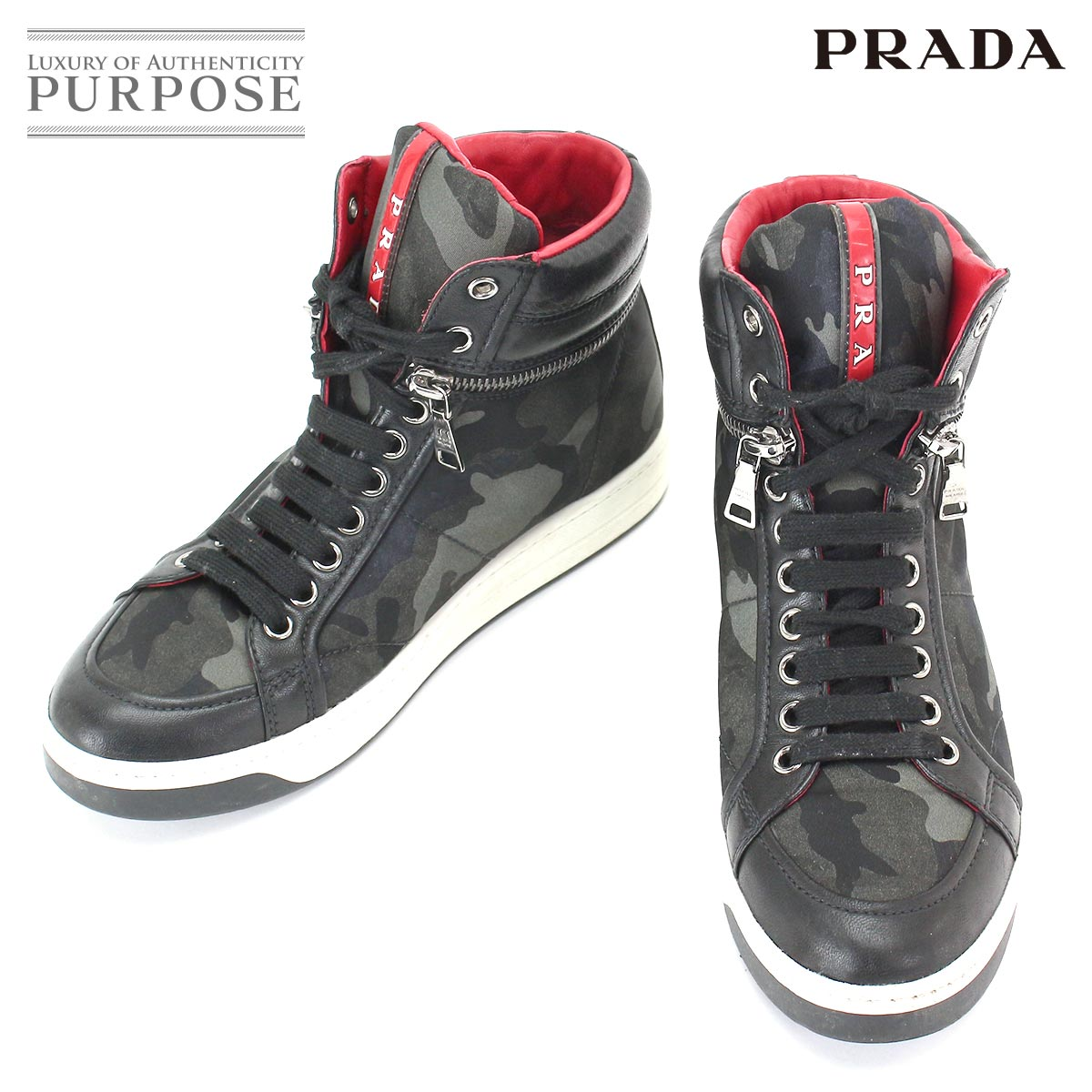 c87fe394f77ea Prada sports PRADA SPORT camouflage higher frequency elimination sneakers  nylon leather black gray 3T5871 35 22.0 22.5cm Lady's [used] accessory