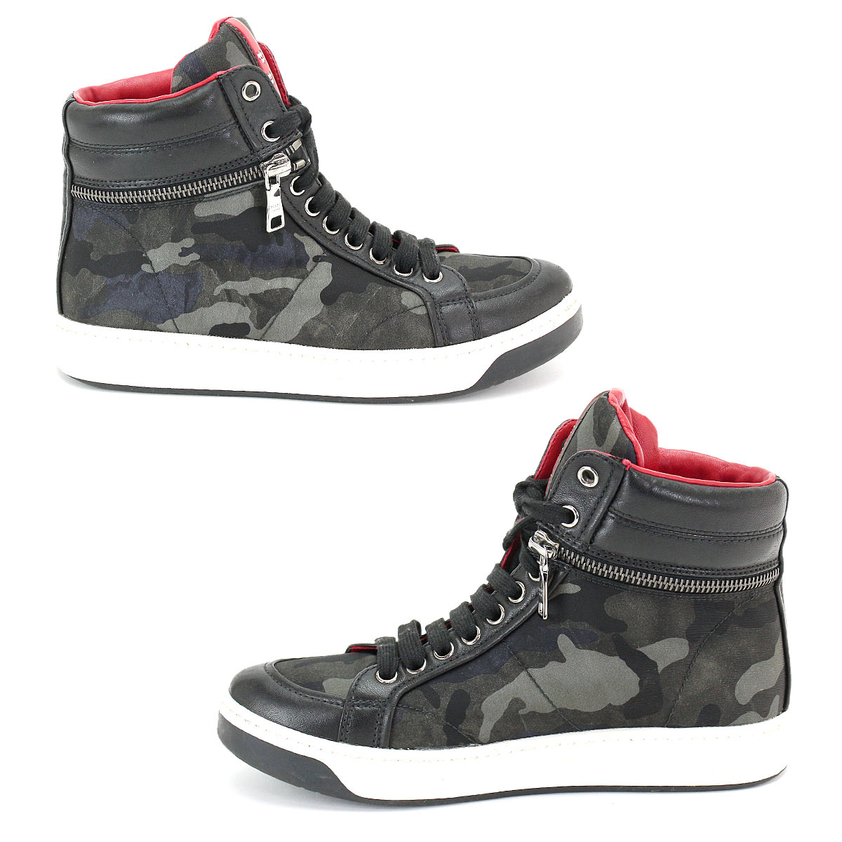 80d0ed9014252 ... Prada sports PRADA SPORT camouflage higher frequency elimination  sneakers nylon leather black gray 3T5871 35 22.0 ...