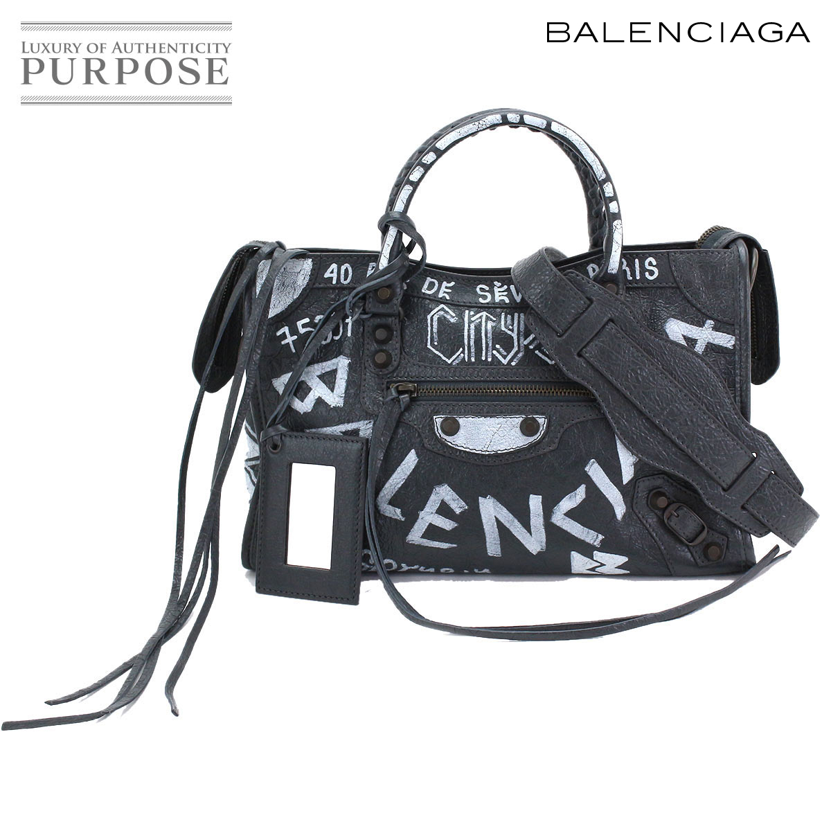 31be014163a [unused display] バレンシアガ BALENCIAGA graffiti classical music city S 2way  hand shoulder bag leather black white 431621 [used] brand