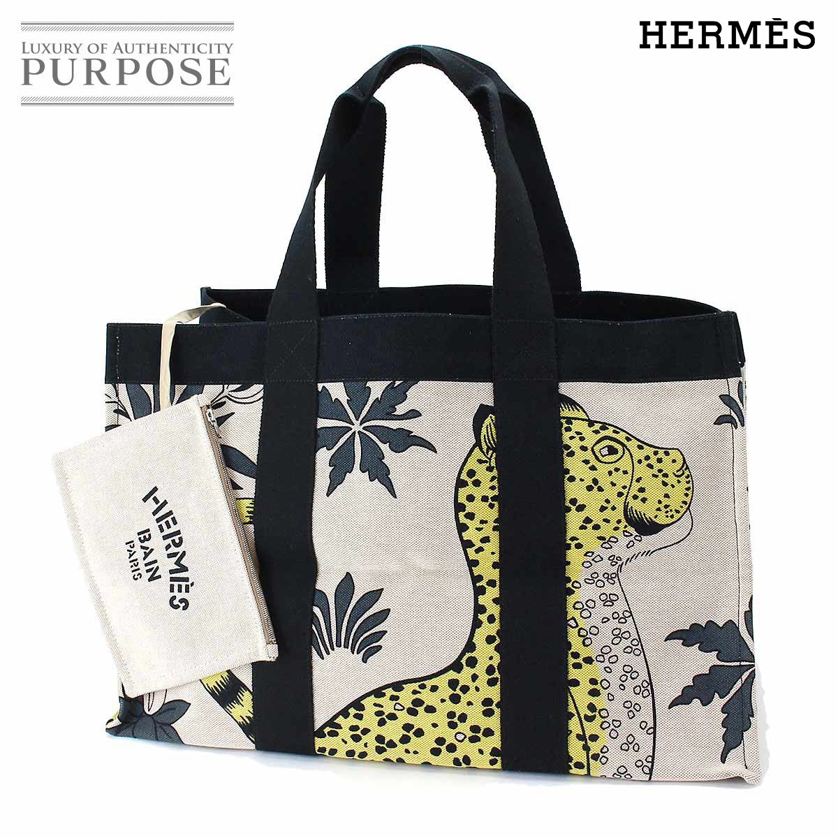 Hermes HERMES beach bag tote bag cotton canvas natural beige multicolored  leopard leopard