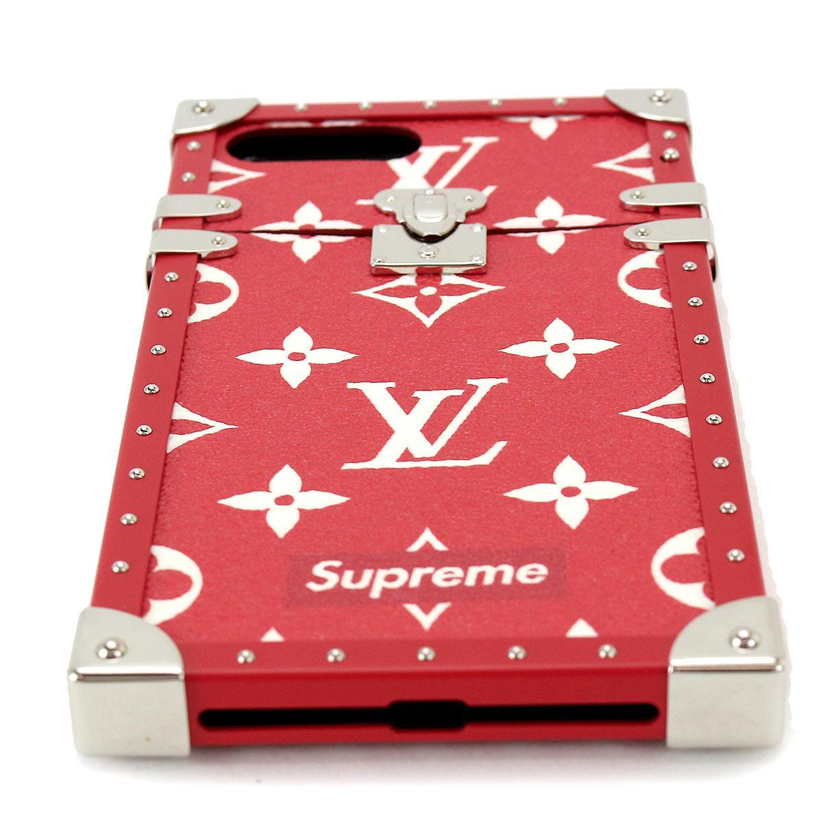 detailed look fff97 54601 Louis Vuitton LOUIS VUITTON シュプリームモノグラムアイトランク iPhone 7Plus case red white  M67758
