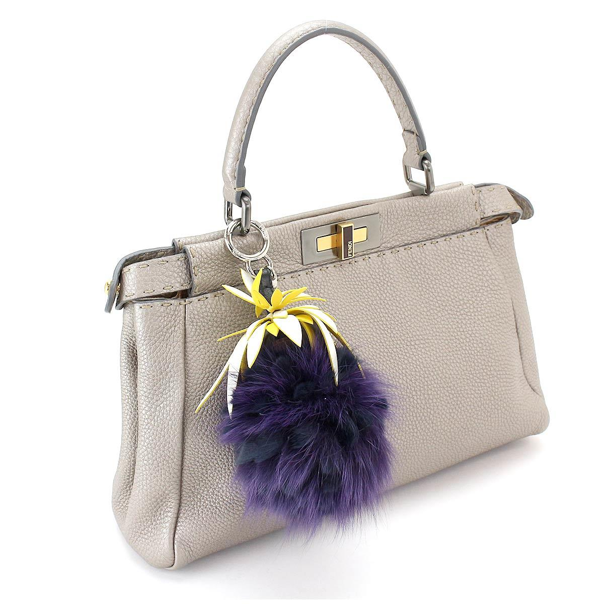 327224923114 Purpose Inc  Fendi FENDI bag charm pineapple Fox fur leather purple ...