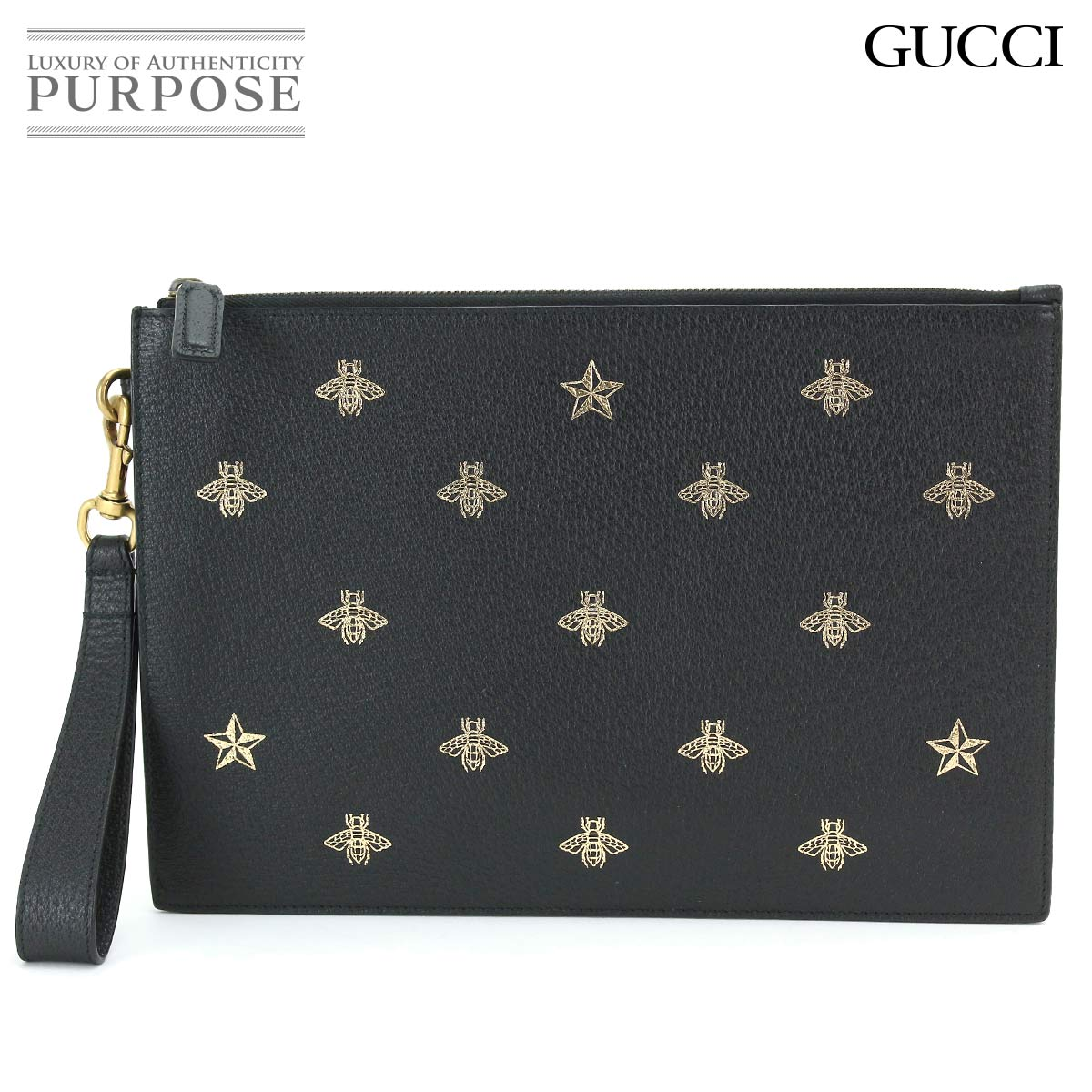 limited price search for official best value Gucci GUCCI B star clutch bag porch leather black gold 495066 0956