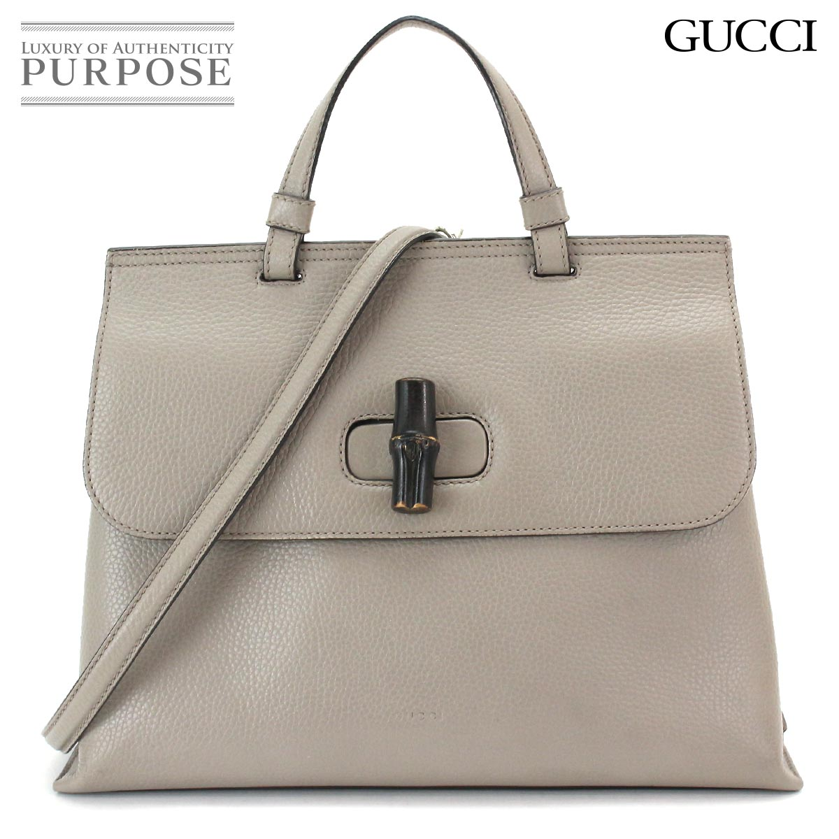 41e4a797e6f7 Gucci GUCCI bamboo daily medium 2way hand shoulder bag leather gray 392013  204990 [used] brand