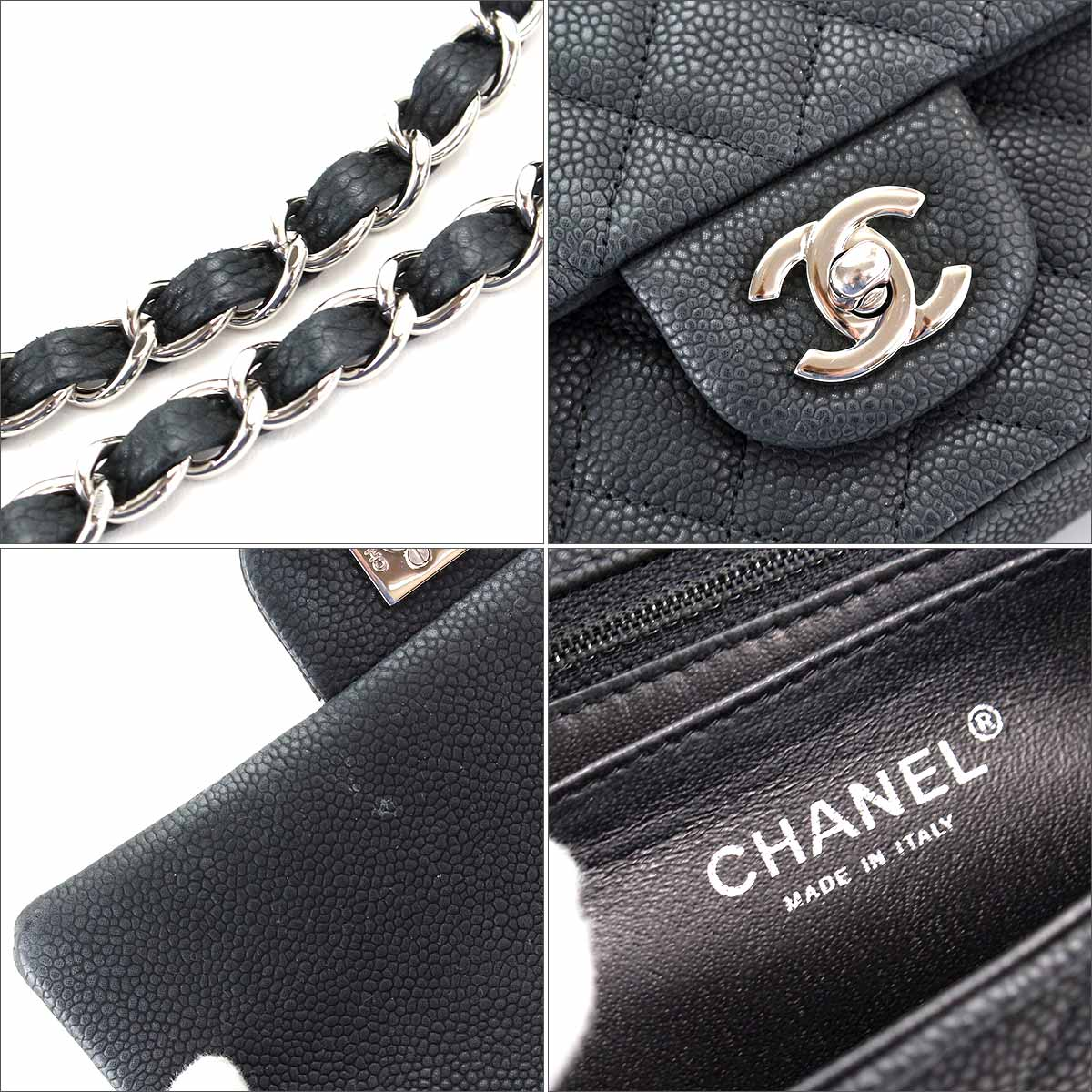 98fd5339123a ... Chanel CHANEL mini-matelasse 20 chains shoulder bag caviar skin black  A69900