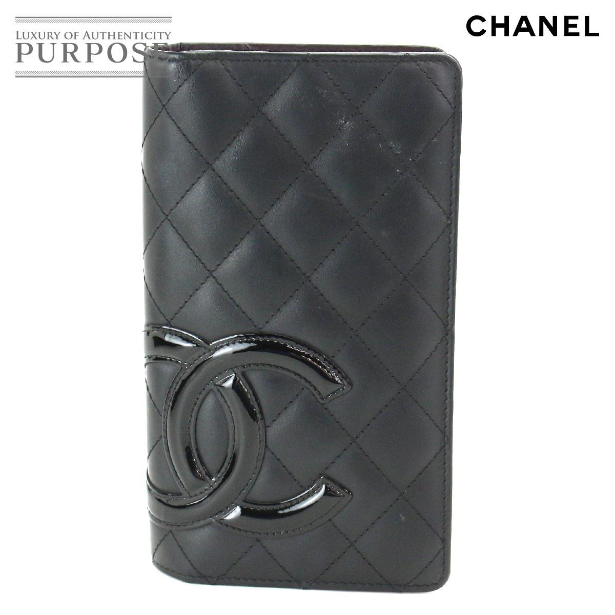 293b484c878082 Chanel CHANEL Cambon line folio long wallet leather enamel black A26717 [ used] brand