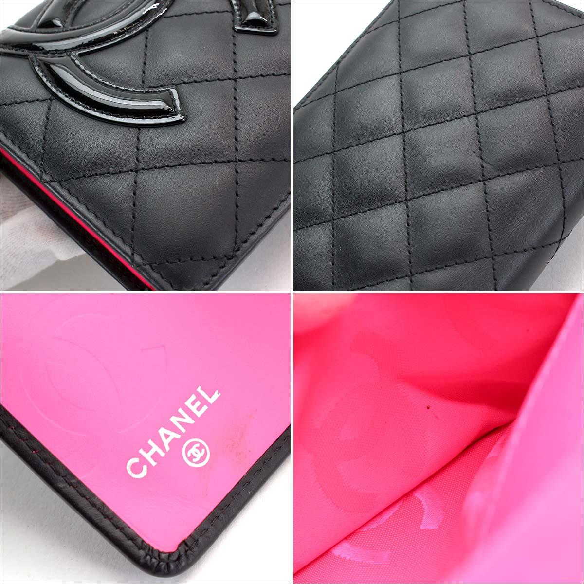 052655e4639a7a Chanel CHANEL Cambon line folio long wallet leather enamel black A26717