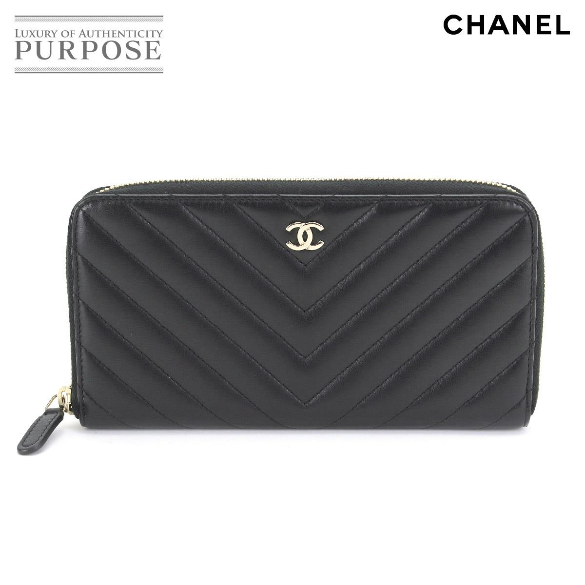 5919c107dd56f5 Chanel CHANEL Chevron round fastener long wallet leather black A50097 V  stitch gold metal fittings [used] brand