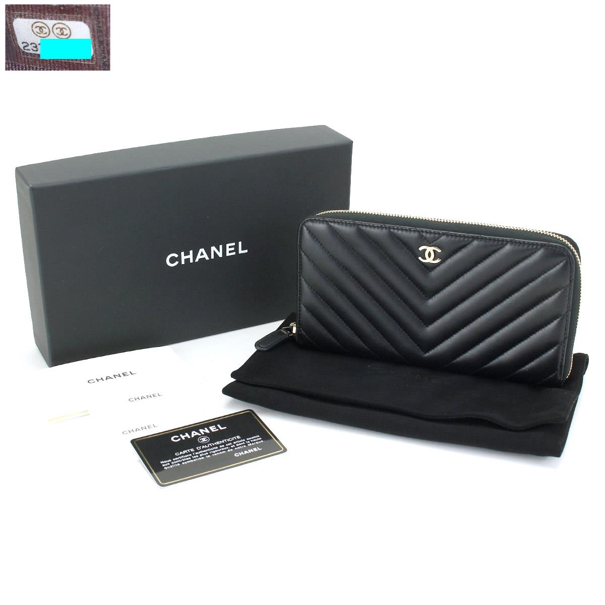 a759275aa575d7 Chanel CHANEL Chevron round fastener long wallet leather black A50097 V  stitch gold metal fittings