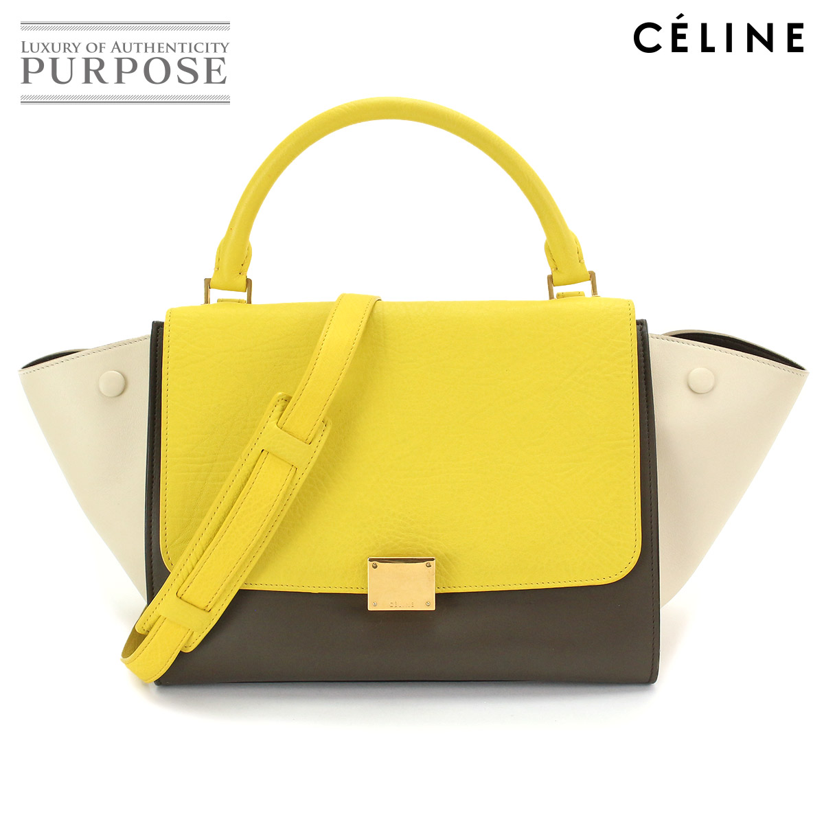 3823207f7 Celine CELINE trapeze Small 2way hand shoulder bag leather yellow beige  khaki tricot color [used] brand