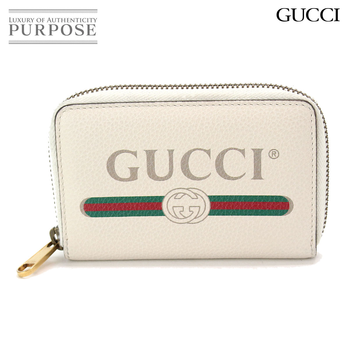 6d3c2d15ab4 Gucci GUCCI Gucci print card case coin case leather off-white 496319 493075   used  brand