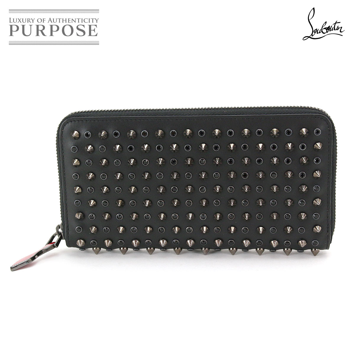 bfb9e8a2297 クリスチャンルブタン Christian Louboutin panettone spikes studs round fastener long  wallet leather black 1155016