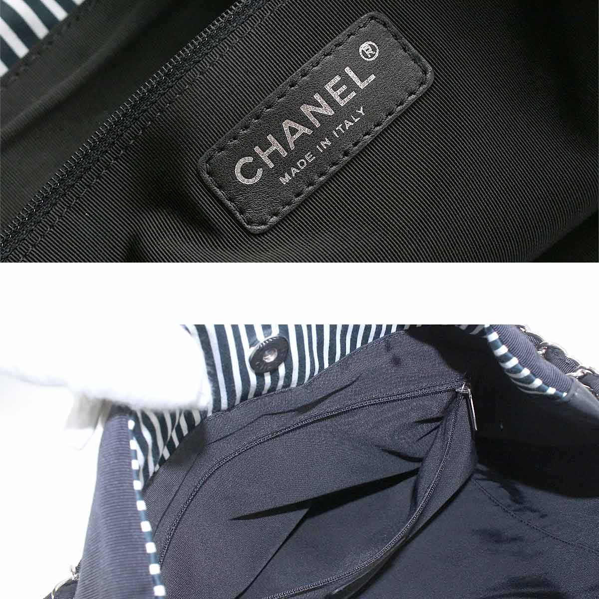 f8dcb08ca89989 Chanel CHANEL Cruise line 2way chain Thoth shoulder bag canvas leather black  white A47915