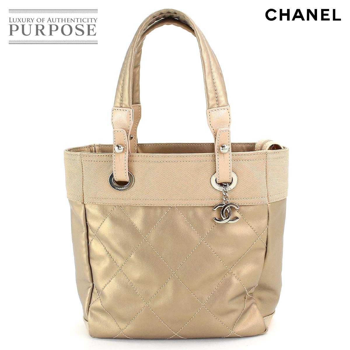 ea7c7103ec Chanel CHANEL Paris Biarritz PM tote bag gold leather canvas A34208
