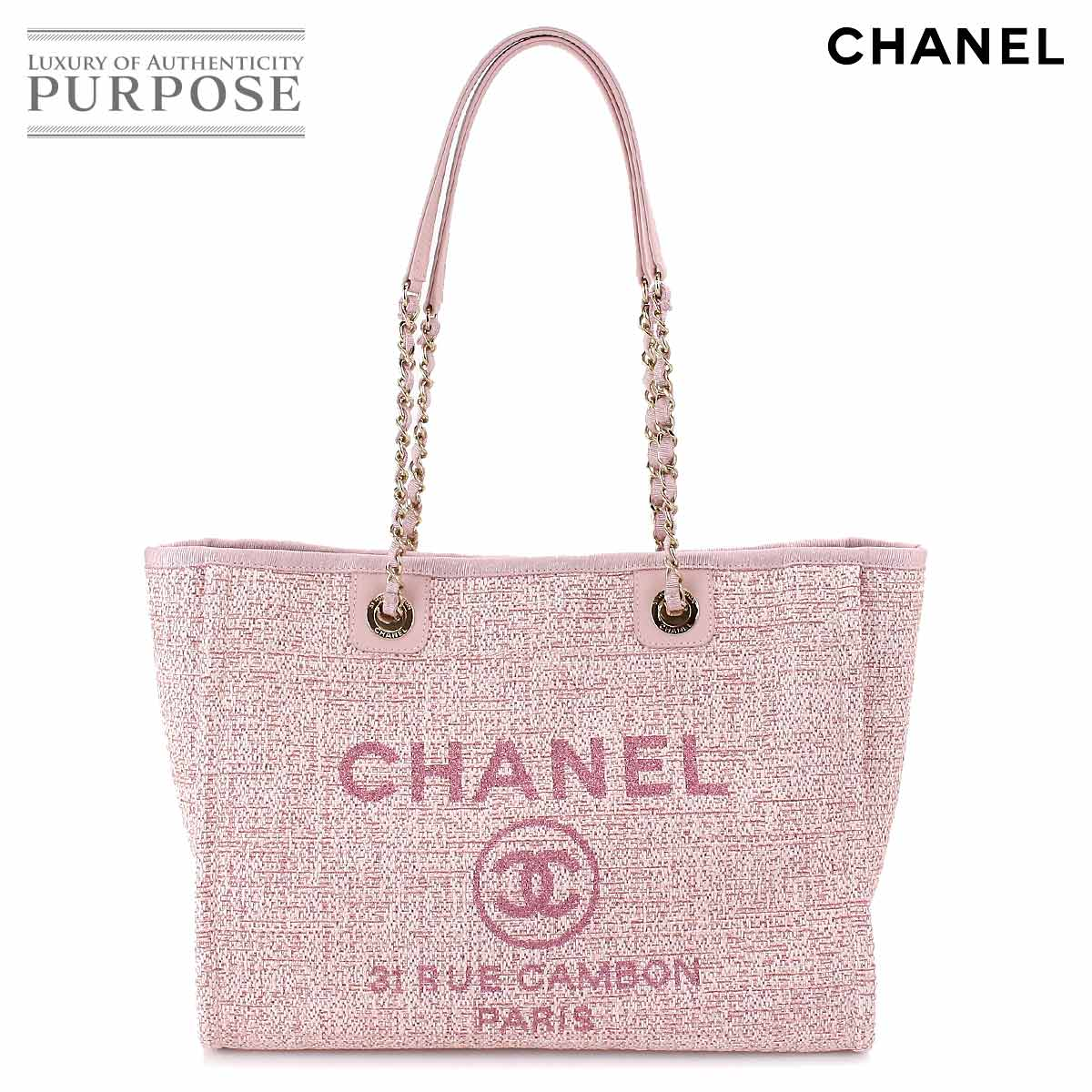 Chanel Deauville Mm Chain Tote Bag Canvas Pink A67001