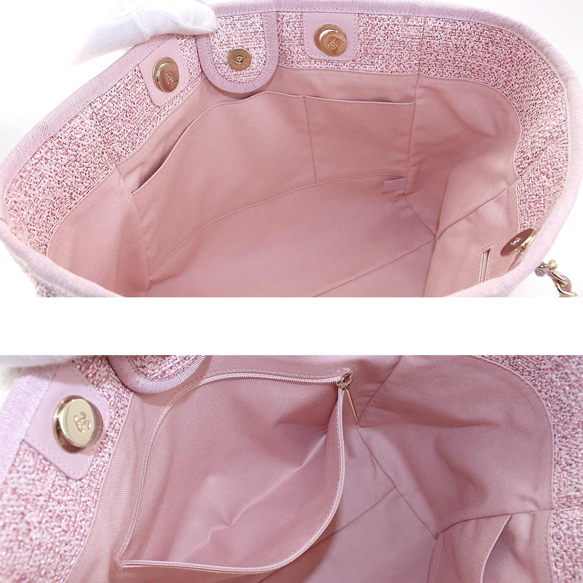 00163d266 Purpose Inc: Chanel CHANEL Deauville MM chain tote bag canvas pink ...