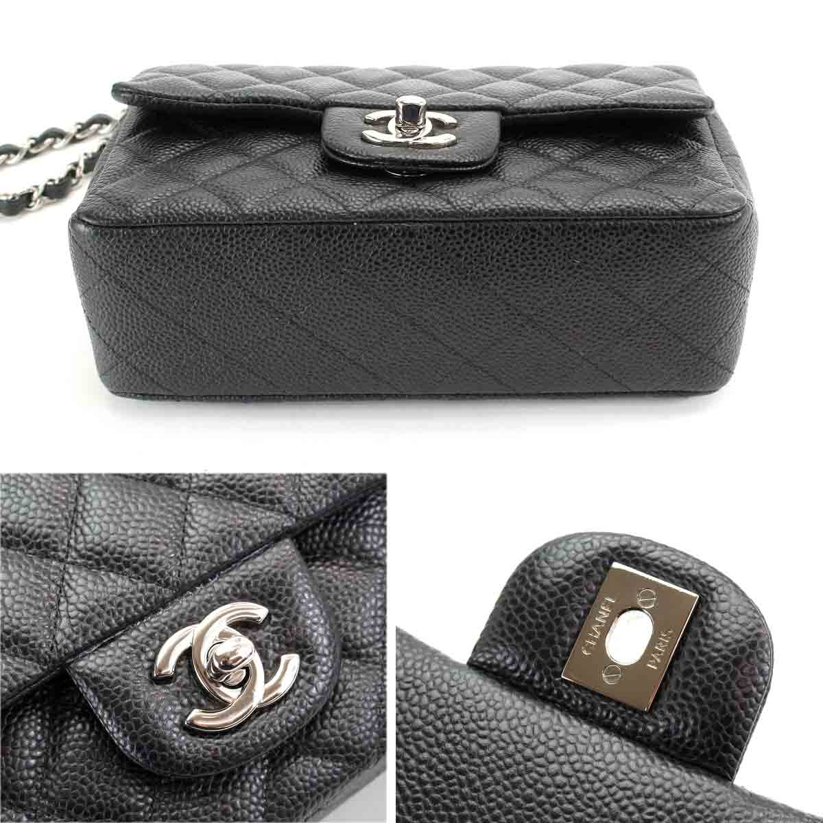 49f75778da5d Chanel CHANEL mini-matelasse 20 chains shoulder bag caviar skin black A69900
