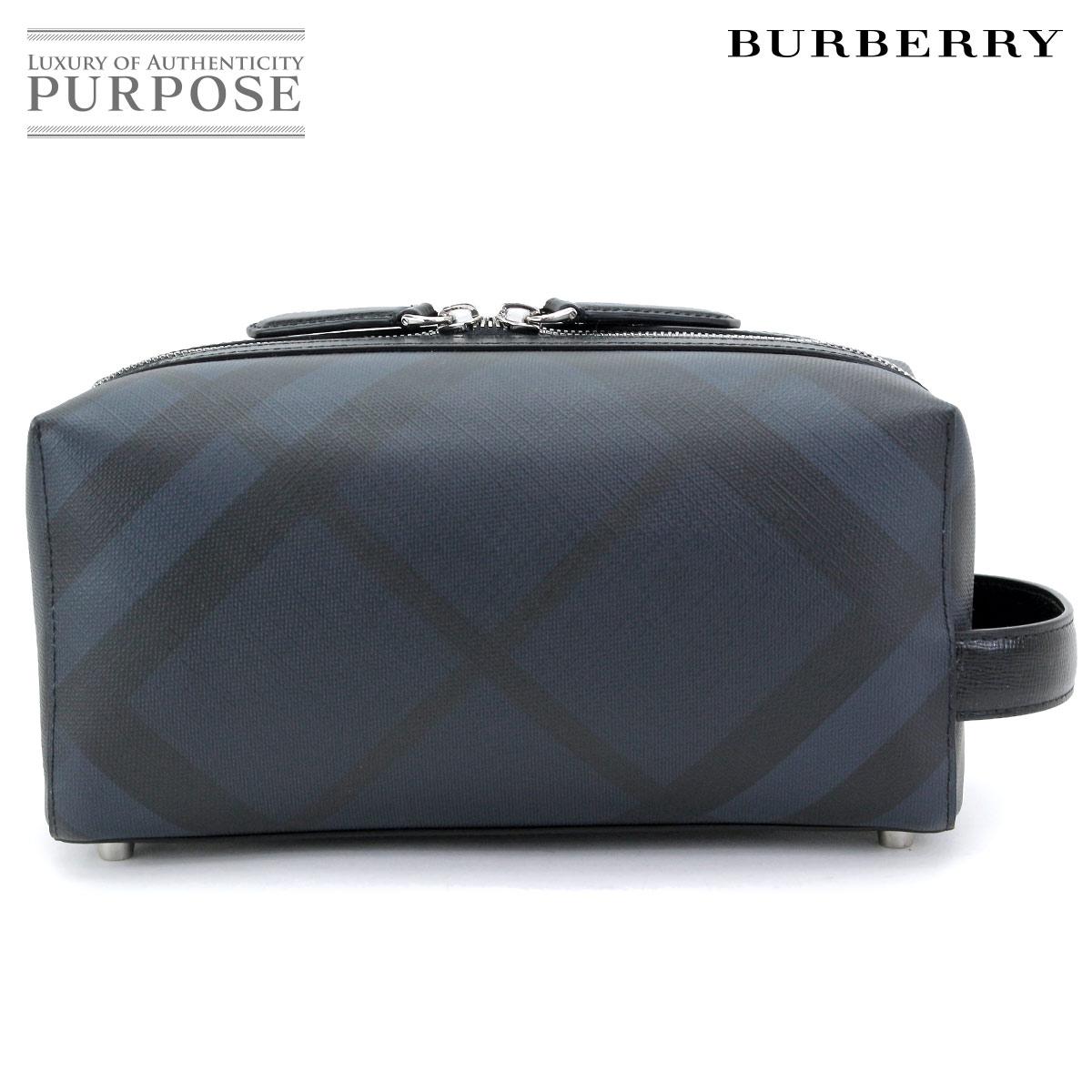 【新品 未使用】 バーバリー BURBERRY ロンドンチェック トラベルポーチ クラッチ バッグ PVC ネイビー ブラック 4068331 【中古】