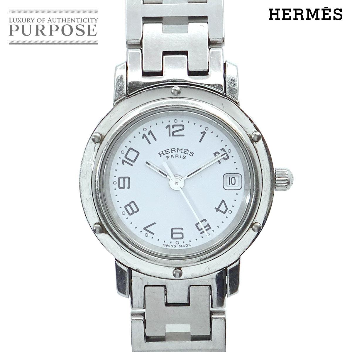 エルメス HERMES クリッパー CL4 210 ヴィンテージ レディース 腕時計 デイト 情熱セール 文字盤 ホワイト 電池交換 ウォッチ Clipper クォーツ 休み 済み 中古 時計