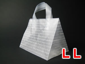 SALENEW大人気 送料無料(一部地域を除く) 手提げタイプの角底ポリ袋 ケーキ屋さん お土産物屋さんに 25枚 LLサイズ 角底ループ袋 角底ポリ手提げ袋