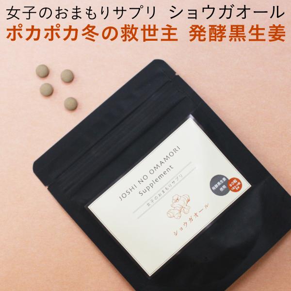 生姜サプリメント 女子のおまもりサプリ ショウガオール 発酵黒生姜 60粒