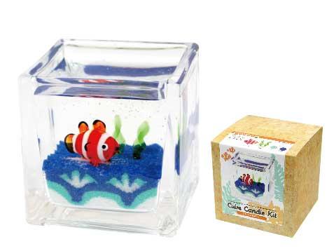 キューブ型グラスのジェルキャンドルキット 期間限定特価品 評判 キューブキャンドルキット クマノミ海草セット