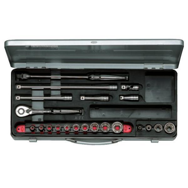 【KTC工具】 3/8 9.5sq 6角 スタンダードソケット・レンチ セット(23点:5.5~22mm) / TB314 送料無料