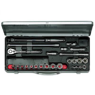 【KTC工具】 3/8 9.5sq 6角 スタンダードソケット・レンチ セット (28点:5.5~22mm) / TB318 送料無料