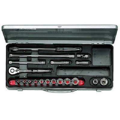 【KTC工具】 3/8 9.5sq 6角・12角混合 スタンダードソケット・レンチ セット (27点:5.5~12mm 13~22mm) / TB317X 送料無料